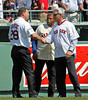 BOSTON -- Former Boston Red Sox outfielder Bob Zupcic, left, greets fellow Red Sox alumni Dwight Evans, right and Reggie Smith on the field during the special pregame ceremony celebrating the 100th anniversary of Fenway Park on Friday, April 20, 2012. (Brita Meng Outzen/Boston Red Sox)