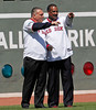 BOSTON -- Former Boston Red Sox players Bernie Carbo, left, and Jim Rice point to a teammate during the special pregame ceremony celebrating the 100th anniversary of Fenway Park on Friday, April 20, 2012. (Brita Meng Outzen/Boston Red Sox)