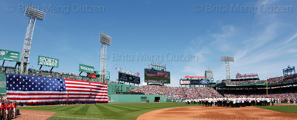 BOSTON -- All 212 former Boston Red Sox players were on the field for the playing of the National Anthem during the special pregame ceremony celebrating the 100th anniversary of Fenway Park on Friday, April 20, 2012. (Brita Meng Outzen/Boston Red Sox)