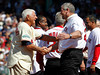 BOSTON -- Former Boston Red Sox left fielder and Hall of Famer Carl Yastrzemski, left, greets fellow alumnus Steve Crawford on the field during the special pregame ceremony celebrating the 100th anniversary of Fenway Park on Friday, April 20, 2012. (Brita Meng Outzen/Boston Red Sox)