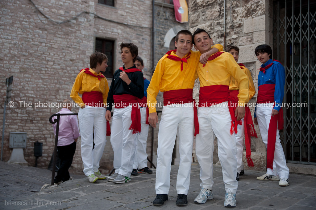 Festa dei Ceri, Gubbio, Umbria, Italy. Every year for over 1,000 years the towns people turn out in the colors of the the towns three patron saints in a magnificent and medieval festival.