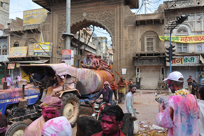 Festival of Holi (Festival of Colours) is celebrated with great fervour and gusto in the city of Vrindavan, Mathura, UP, India.
