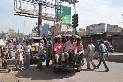 Folks on the streets of Mathua. Festival of Holi (Festival of Colours) is celebrated with great fervour and gusto in the city of Vrindavan, Mathura, UP, India.
