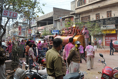 Holi Gate is the most happening part of Mathura town on the festival day. Cops keep vigil for any anti-social elements and any potential threat to the peace and security. They are not spared either but not as much as those actually playing with colours.  Festival of Holi (Festival of Colours) is celebrated with great fervour and gusto in the city of Vrindavan, Mathura, UP, India.