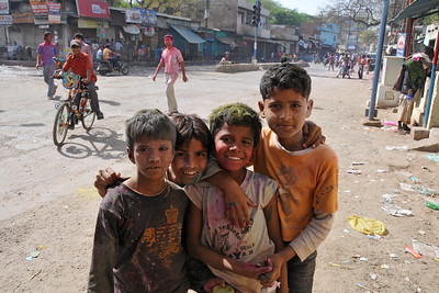 Kids having fun. Festival of Holi (Festival of Colours) is celebrated with great fervour and gusto in the city of Vrindavan, Mathura, UP, India.