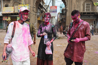 Few brave foreigners who come to Mathura to celebrate Holi join into the festivities This set of friends from Denmark were having a blast!  Festival of Holi (Festival of Colours) is celebrated with great fervour and gusto in the city of Vrindavan, Mathura, UP, India.