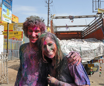 Few brave foreigners who come to Mathura to celebrate Holi. This couple from US was having a great time! Festival of Holi (Festival of Colours) is celebrated with great fervour and gusto in the city of Vrindavan, Mathura, UP, India.