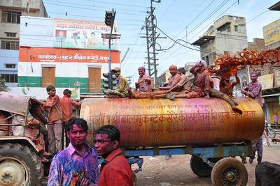 Tank loads of water mixed with colour is thrown. Fortunately, I turned in time. Festival of Holi (Festival of Colours) is celebrated with great fervour and gusto in the city of Vrindavan, Mathura, UP, India.