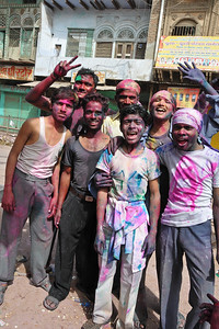 Kids having fun on Holi.  Festival of Holi (Festival of Colours) is celebrated with great fervour and gusto in the city of Vrindavan, Mathura, UP, India.