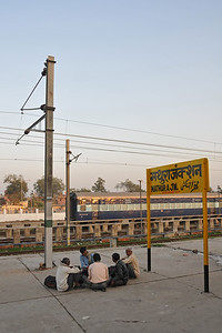 Mathura railway station. Festival of Holi (Festival of Colours) is celebrated with great fervour and gusto in the city of Vrindavan, Mathura, UP, India.