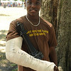 """This brother apparently wanted something with a little less contact after breaking his arm in two places playing football.  The cast reads: """"I luv football"""" ... That's classic."""