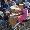 Kids were encoruaged to come into the drum village and play