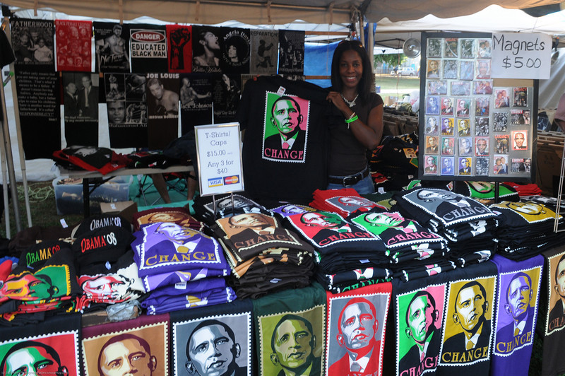 The Obama love was present everywhere in the festival, which was only a few blocks aways from his South Side home.