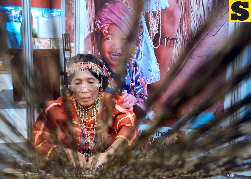 Bagobo woman weaves native tinalak cloth