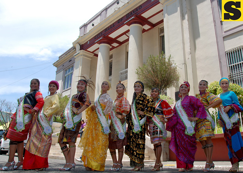 DAVAO. The Hiyas sa Kadayawan candidates from the 10 tribes of Davao City pose after they were presented in Thursday's I-Speak forum held at the City Hall conference room. (King Rodriguez)