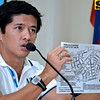 DAVAO. Michael Denton Aportadera, of Duaw Dabaw Festivals Foundation, shows the route map where contingents of Indak-Indak sa Kadalanan and Pamulak Festival, two of the highlights of this year's Kadayawan Festival, will pass through during a discussion in Thursday's I-Speak Forum at City Hall's conference room. (King Rodriguez)