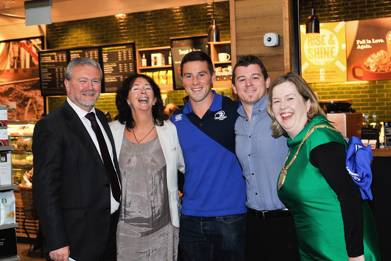 Image features L to R: Seán Aylward, Nutgrove Centre Manager, Cllr Lettie McCarthy, Leinster Rugby Players John Cooney and Ken Copeland with An Cathaoirleach Cllr Carrie Smyth at the launch.<br /> <br /> An Cathaoirleach Cllr Carrie Smyth launched Nutgrove Arts Fest 2013 on Thursday 26 September 2013. The event took place from 6.30pm to 8.30pm and included Musicians Shannen Byrne & Michéal Smith from Kicking Bird, The Bastable Warren School of Irish Dancing, Bollywood Dance Dublin, Independent Theatre Workshop and RUGS Ukelele Band.