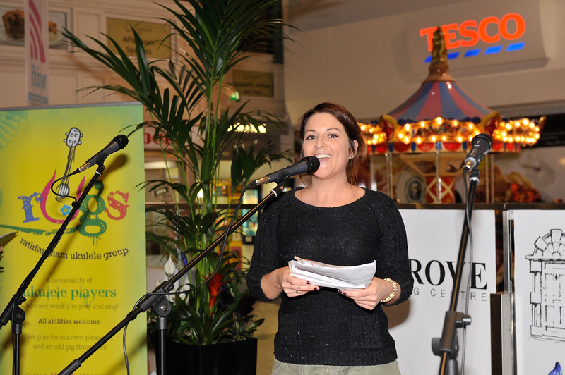 Lisa Kenny introduces the acts during the Nutgrove Arts Fest 2013 Opening.<br /> <br /> An Cathaoirleach Cllr Carrie Smyth launched Nutgrove Arts Fest 2013 on Thursday 26 September 2013. The event took place from 6.30pm to 8.30pm and included Musicians Shannen Byrne & Michéal Smith from Kicking Bird, The Bastable Warren School of Irish Dancing, Bollywood Dance Dublin, Independent Theatre Workshop and RUGS Ukelele Band.