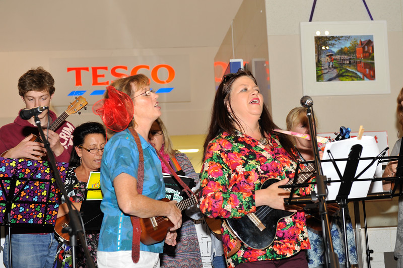 RUGS (Rathfarnham Ukulele Group) entertained the audience at the launch. Image features Eadaoin Furey and Sheilagh Fox.<br /> <br /> An Cathaoirleach Cllr Carrie Smyth launched Nutgrove Arts Fest 2013 on Thursday 26 September 2013. The event took place from 6.30pm to 8.30pm and included Musicians Shannen Byrne & Michéal Smith from Kicking Bird, The Bastable Warren School of Irish Dancing, Bollywood Dance Dublin, Independent Theatre Workshop and RUGS Ukelele Band.