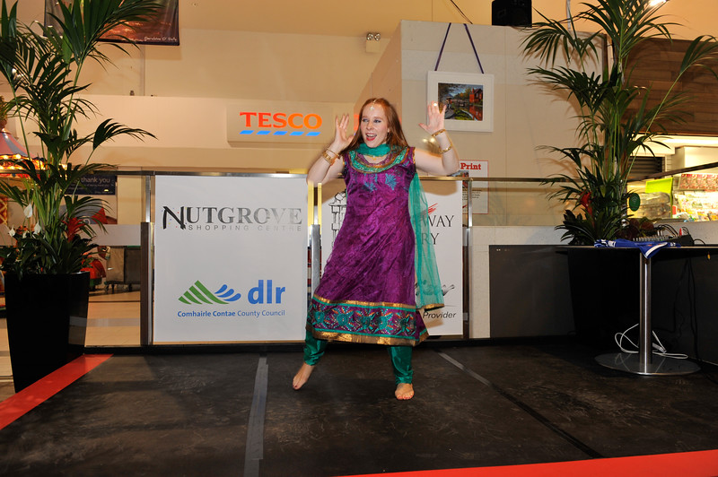 Emer Wall, Bollywood Dance Dublin perform at the launch.<br /> <br /> An Cathaoirleach Cllr Carrie Smyth launched Nutgrove Arts Fest 2013 on Thursday 26 September 2013. The event took place from 6.30pm to 8.30pm and included Musicians Shannen Byrne & Michéal Smith from Kicking Bird, The Bastable Warren School of Irish Dancing, Bollywood Dance Dublin, Independent Theatre Workshop and RUGS Ukelele Band.