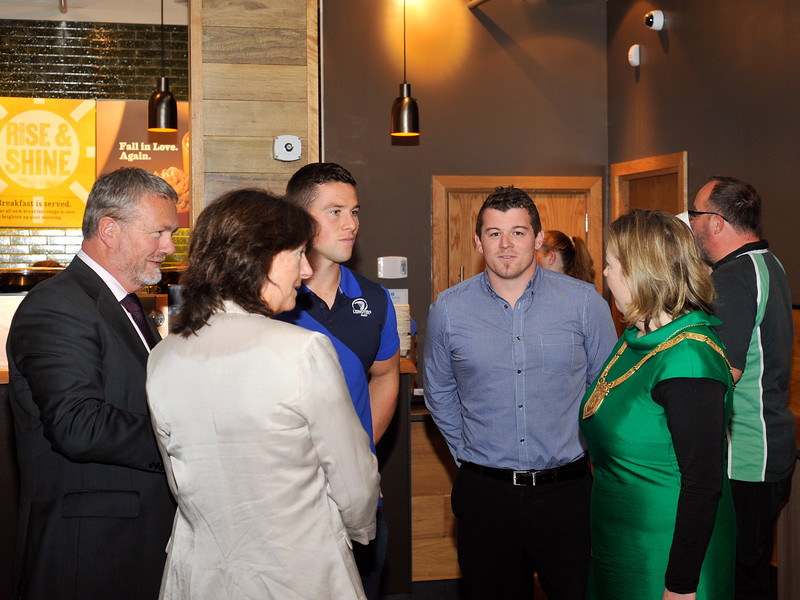 Leinster Rugby players John Cooney and Ken Copeland have a chat at the luanch. <br /> <br /> An Cathaoirleach Cllr Carrie Smyth launched Nutgrove Arts Fest 2013 on Thursday 26 September 2013. The event took place from 6.30pm to 8.30pm and included Musicians Shannen Byrne & Michéal Smith from Kicking Bird, The Bastable Warren School of Irish Dancing, Bollywood Dance Dublin, Independent Theatre Workshop and RUGS Ukelele Band.