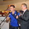 Leinster Rugby Player John Cooney presents Centre Manager Seán Aylward with a signed jersey.<br /> <br /> An Cathaoirleach Cllr Carrie Smyth launched Nutgrove Arts Fest 2013 on Thursday 26 September 2013. The event took place from 6.30pm to 8.30pm and included Musicians Shannen Byrne & Michéal Smith from Kicking Bird, The Bastable Warren School of Irish Dancing, Bollywood Dance Dublin, Independent Theatre Workshop and RUGS Ukelele Band.