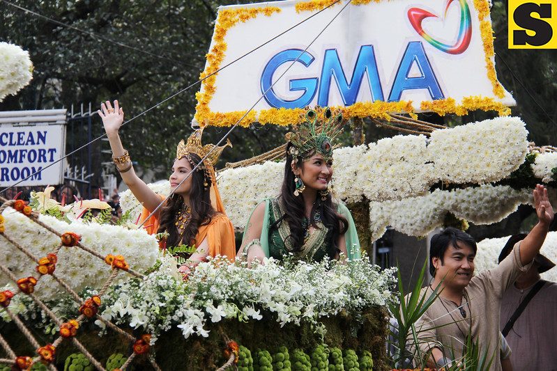 GMA Network Inc. float with Rhian Ramos, Erha Madrigal and Senator Bong Revilla.