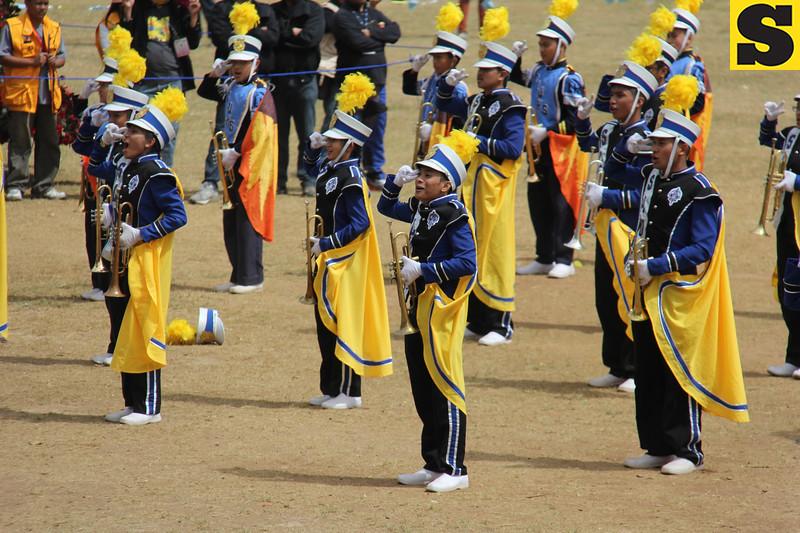 Saint Louis University Band performs during Panagbenga 2014 float parade