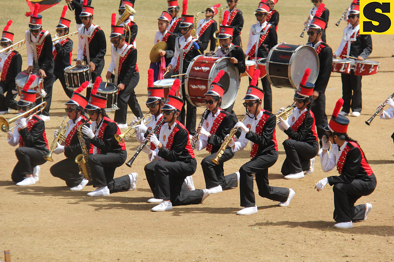 Baguio City National High School band performs during Panagbenga float parade 2014