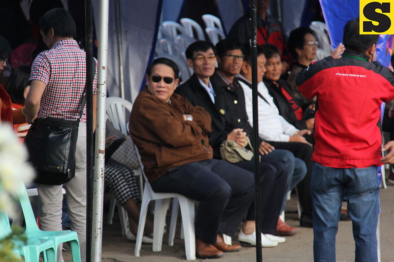 Thailand officials and representatives watch Panagbenga 2014 float parade