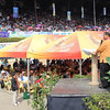 Baguio City Mayor Mauricio Domogan gives his message to Panagbenga crowd