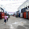 These container vans serve as makeshift shelters for the devotees.