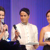 Hosting the Ms Cebu 2012 pageant night are Miss Philippines-Earth 2008 Karla Paula Ginteroy Henry, actor Rafael Rosell, and Ms Cebu 2010 Reena Elena Malinao. (Sunnex photo)