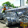 METALLIC.  The International Pharmaceuticals Inc. (IPI) once again wowed the grand parade audience with its float depicting the Sto. Nino riding a futuristic vehicle made of recycle materials. (Sun.Star Photo/Allan Cuizon)