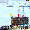 The galleon passing-by a moored ship loaded with devotees of the Holy child suring the fluvial procession at the Mactan channel.<br /> <br />   photo / Allan Cuizon
