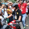 Cebu City Mayor Mike Rama helping in crowd control during the Sinulog grand parade.  (Photo by Jean Mondoñedo-Ynot)