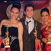 Sinulog Idol Season 5 winners: second runner-up Rayllyne Alicaya (left), grand champion Bryan Claudio Deiparine, and first runner-up Sheila Mae Bucog. (Photo by Daryl D. Anunciado)
