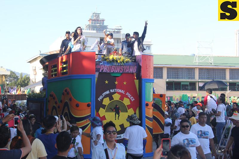 Cast of Ang Probinsyano teleserye onboard Ang Probinsyano float during Sinulog 2016