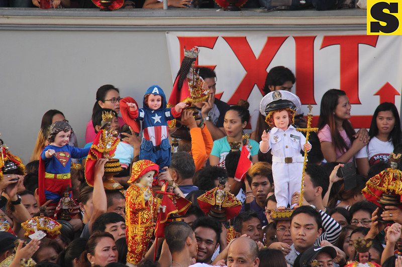 Superman, Captain America and mariner among Sto Nino images attending Opening Salvo mass