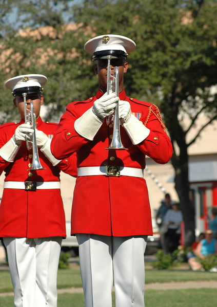 The US Marine Drum and Bugle Corps played in the appropriately named Marine Corps Square.