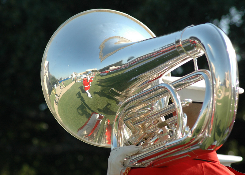 This tuba had a neat reflection of the the rest of the tuba line.
