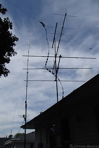 KE0NA (TC Doers) Field Day - FD antenna in foreground, other permanent antennas behind