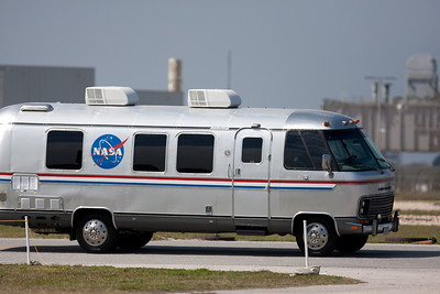 STS-133 crew heads to the launch pad in the astrovan. T-4 hours.