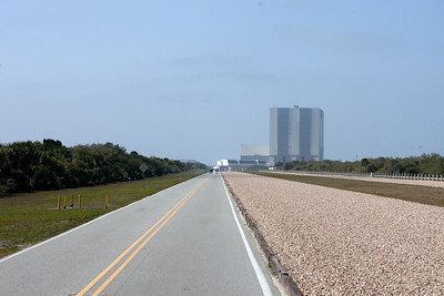 Pad 39A service road, heading back to the VAB. Launch pad crawler way is on the right.