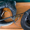 Record-Eagle/Douglas Tesner<br /> Boots, spurs, riding crop, helmet and gloves wait for a ride who will be competing in the 2008 Horse Show by the Bay.