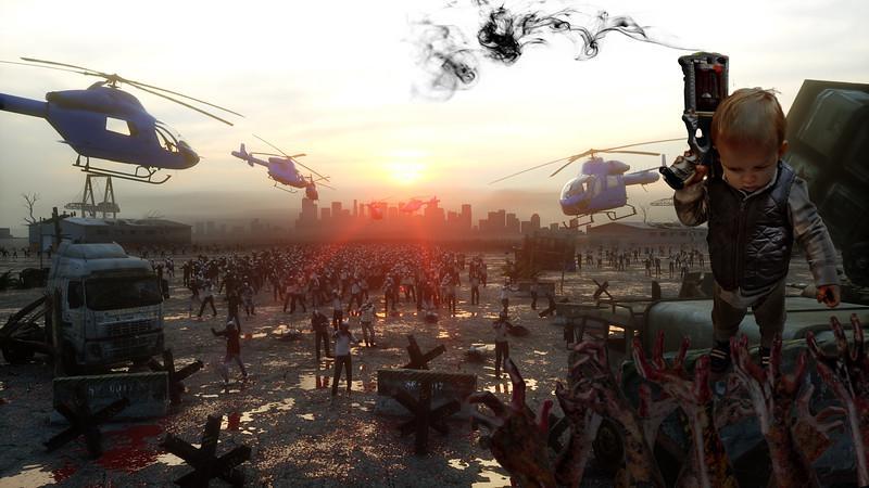 horror zombie crowd walking. Apocalypse view, concept. 3d rendering.