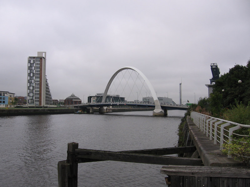 Further downriver. Visible are the BBC Scotland and STV buildings, the Glasgow Tower and the Finnieston Crane, along with the city's newest addition, the Finnieston Bridge.