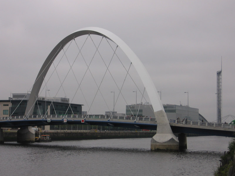 The bridge, the STV building, the BBC building and the Glasgow Tower.