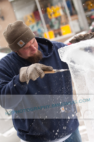 """Snow and Ice sculptors display their talent at the """"Fire & Ice"""" festival in Sturgeon Bay, WI on February 14, 2009."""