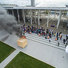 A wood-frame mock residence hall room complete with furniture and fixtures was burned to demonstrate fire safety procedures and tips. The room will contain commonly found hazards and illustrate the possible effects of unsafe behaviors.<br /> <br /> Photo by Brian Busher